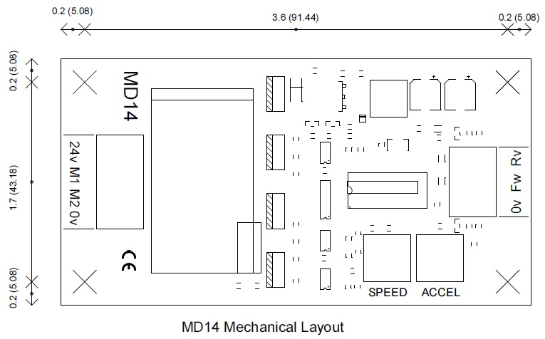 MD14 Motor driver dimensions